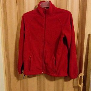 Harriton red fleece jacket with pockets
